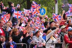 Muchedumbres en la boda real 2011 Foto de archivo libre de regalías