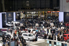 Muchedumbres en la demostración de motor de Ginebra Imagen de archivo