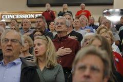 Muchedumbres para Donald republicano J Reunión presidencial del triunfo la noche antes de Nevada Caucus, del hotel del sur y del  Fotografía de archivo