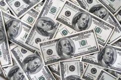 Mucho 100 cuentas de dólar Imágenes de archivo libres de regalías