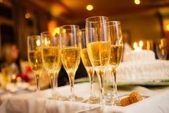 Mucho Champagne Glasses en una bandeja Fotografía de archivo libre de regalías