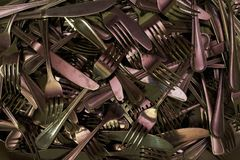 mucho cierre de la bifurcación de los cubiertos del cuchillo encima de la foto fotografía de archivo libre de regalías