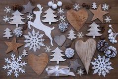 Mucho decoración de la Navidad, corazón, copos de nieve, árbol, presente, reno Imagen de archivo libre de regalías
