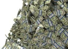 Mucho dinero y abundancia. El caer de los manojos de dólar americano