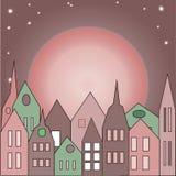 Mucho edificio rosado viejo Stock de ilustración