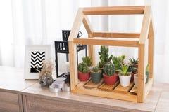 Mucho el cactus verde en pote plástico adorna en modelo de madera de la casa, Imagenes de archivo
