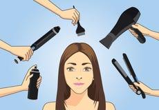 Mucho el peluquero hace el pelo que diseña a la mujer ilustración del vector