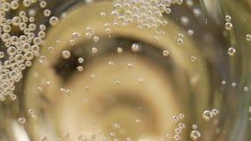 Mucho el pequeño champán burbujea en un vidrio de champán metrajes