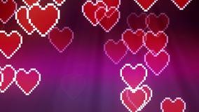 Mucho fondo móvil difuso al azar de la animación del icono del corazón del pixel - colorido dinámico del nuevo movimiento univers stock de ilustración