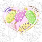 Mucho helado en un palillo en el corazón Imagen de archivo