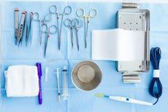 Mucho la clase de equipamiento médico maneja para que el cirujano comience operaciones en sala de operaciones Imágenes de archivo libres de regalías
