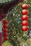 Mucho linterna de papel o lámpara roja china Imagen de archivo libre de regalías