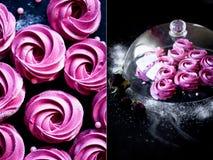 Mucho melcocha púrpura en una superficie oscura Una imagen que pone en contraste Un trabajo del arte culinario Imágenes de archivo libres de regalías