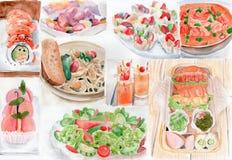 Mucho pintura de la acuarela de la comida Imágenes de archivo libres de regalías