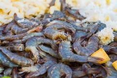 Mucho rey Size Shrimps del negro oscuro o del verde con los pedazos de frutas Imagen de archivo libre de regalías