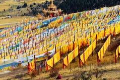 Mucho rezo del tibetano señala el vuelo por medio de una bandera con la mandala en la ladera Imagen de archivo