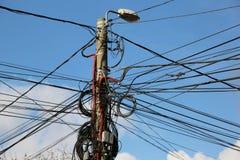 Muchos alambres en un pilar Fotos de archivo