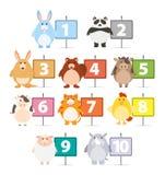 Muchos animales y números uno a diez ilustración del vector