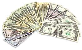 Muchos billetes de banco de los dólares Imágenes de archivo libres de regalías