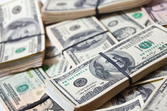Muchos billetes de banco de los dólares de EE. UU. Foto de archivo libre de regalías