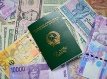 Muchos billetes de banco de los países diferentes con el pasaporte Imágenes de archivo libres de regalías
