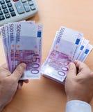 Muchos billetes de banco euro Imagen de archivo