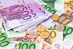 Muchos billetes de banco euro Foto de archivo libre de regalías