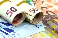 Muchos billetes de banco euro Fotos de archivo