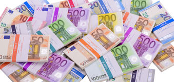 Muchos billetes de banco euro como grupo imágenes de archivo libres de regalías