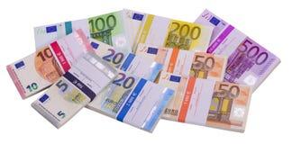 Muchos billetes de banco euro como grupo Fotografía de archivo libre de regalías