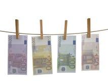 Muchos billetes de banco hunging Imagen de archivo