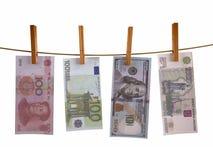 Muchos billetes de banco hunging Imagen de archivo libre de regalías