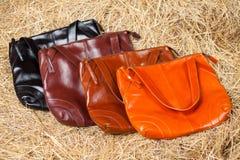 Muchos bolsos para mujer coloreados Fotos de archivo