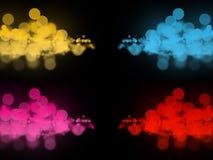 Muchos círculos coloridos abstractos del bokeh en oscuridad foto de archivo libre de regalías