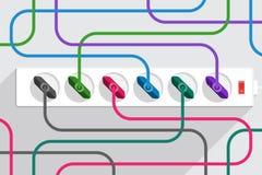 Muchos cables eléctricos tapados a la tira del poder Fotografía de archivo libre de regalías