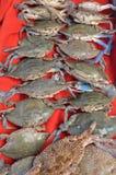 Muchos cangrejos en una parada en el pavo de Antalya del mercado de pescados Fotos de archivo libres de regalías