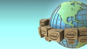 Muchos cartones con el logotipo de Intel en todo el mundo, América acentuaron Representación conceptual del editorial 3D ilustración del vector