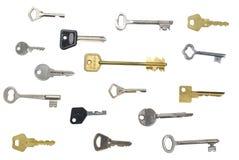 Muchos claves aislaron el fondo Fotos de archivo