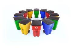 Muchos colorean compartimientos de basura plásticos con el reciclaje del logotipo ilustración del vector