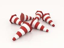 Muchos conos rojos del camino rendidos aislados Imagen de archivo libre de regalías