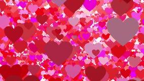 Muchos corazones del vuelo en el fondo blanco ilustración del vector