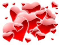 Muchos corazones rojos Foto de archivo libre de regalías