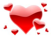 Muchos corazones rojos Imagenes de archivo
