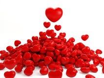 Muchos corazones rojos aislados Imagenes de archivo