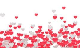 Muchos corazones rojos del blanco del fnd fondo 3d Imagen de archivo libre de regalías