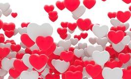 Muchos corazones rojos del blanco del fnd fondo 3d Foto de archivo