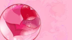 Muchos corazones rojos dentro de una bola transparente en un fondo rosado, burbuja de jabón Foto de archivo