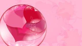 Muchos corazones rojos dentro de una bola transparente en un fondo rosado, burbuja de jabón Fotografía de archivo libre de regalías