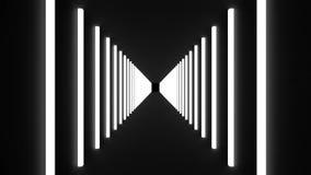 Muchos cuartos iluminados con las lámparas, el movimiento y la perspectiva, fondo generado por ordenador, 3D rinden stock de ilustración