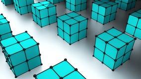 Muchos cubos 3d con los puntos están en la superficie, fondo generado por ordenador moderno, contexto elegante ilustración del vector